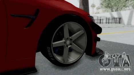 BMW M4 F82 Race Tune para GTA San Andreas vista posterior izquierda