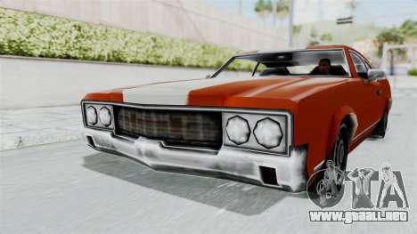 GTA Vice City - Sabre Turbo (Unsprayable) para GTA San Andreas vista posterior izquierda