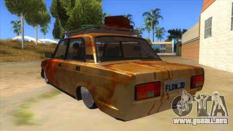 VAZ 2107 Rusty Gringo para GTA San Andreas vista posterior izquierda