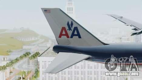 Boeing 747-200 American Airlines para GTA San Andreas vista posterior izquierda