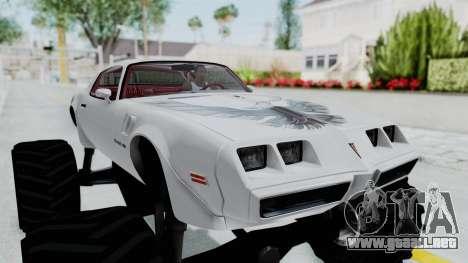 Pontiac Firebird Trans Am Monster Truck 1980 para GTA San Andreas vista hacia atrás