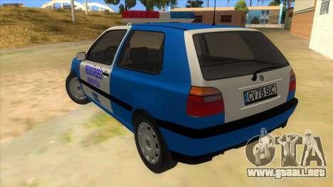Volkswagen Golf 3 Police para GTA San Andreas vista posterior izquierda