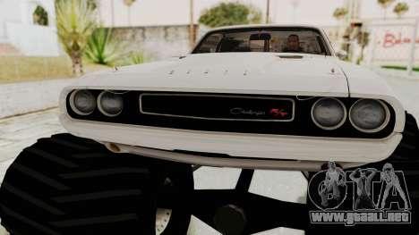 Dodge Challenger 1970 Monster Truck para GTA San Andreas vista hacia atrás