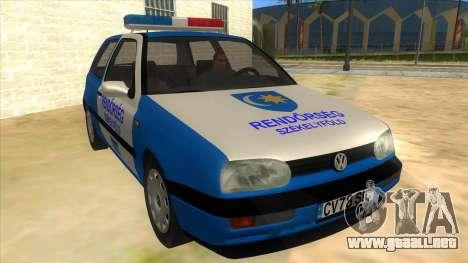 Volkswagen Golf 3 Police para GTA San Andreas vista hacia atrás