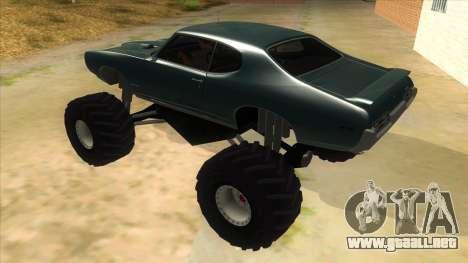 1969 Pontiac GTO Monster Truck para GTA San Andreas vista posterior izquierda