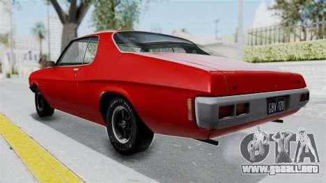 Holden Monaro GTS 1971 AU Plate HQLM para GTA San Andreas vista posterior izquierda