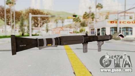 GTA 5 Rocket Launcher Shark mouth para GTA San Andreas tercera pantalla