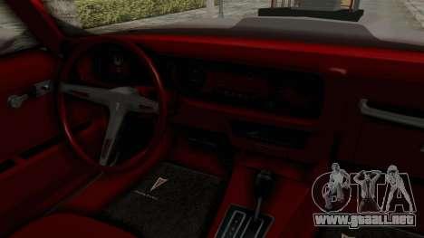 Pontiac Firebird 1970 Monster Truck para visión interna GTA San Andreas