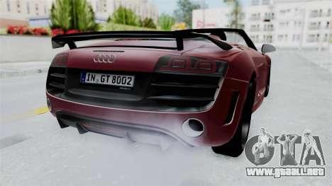 Audi R8 Spyder 2014 LB Work para la visión correcta GTA San Andreas