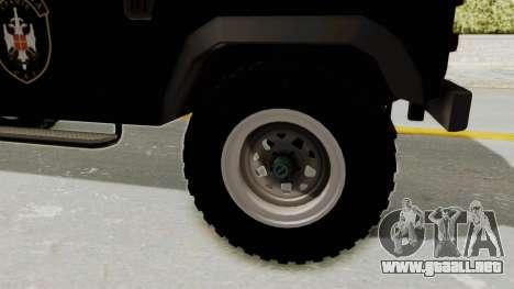 Land Rover Defender SAJ para GTA San Andreas vista hacia atrás