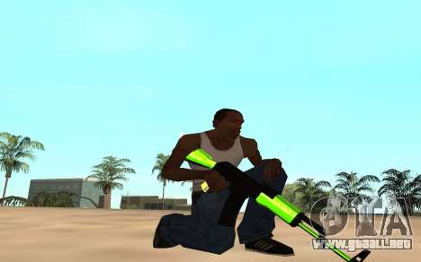Green chrome weapon pack para GTA San Andreas quinta pantalla