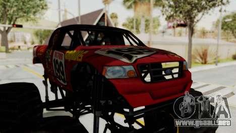 Pastrana 199 Monster Truck para GTA San Andreas vista hacia atrás