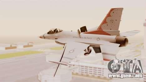 General Dynamics F-16A USAF Thunderbirds para la visión correcta GTA San Andreas
