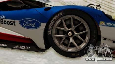 Ford GT 2016 LM para GTA San Andreas vista hacia atrás