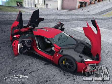 W Motors Lykan Hypersport 2015 HQ para GTA San Andreas vista posterior izquierda