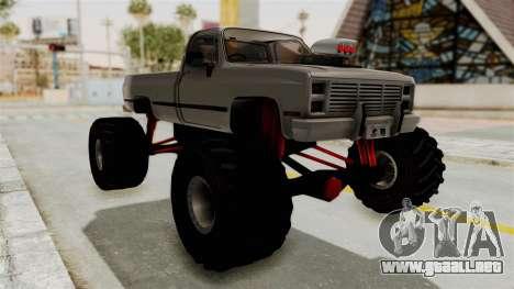 Chevrolet Silverado Classic 1985 Monster Truck para la visión correcta GTA San Andreas