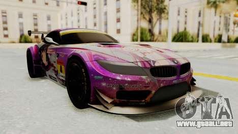 BMW Z4 GT3 Tobisawa Misaki para GTA San Andreas vista posterior izquierda