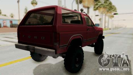 Ford Bronco 1985 Lifted para GTA San Andreas left