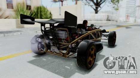 Ariel Atom 500 V8 para GTA San Andreas vista posterior izquierda