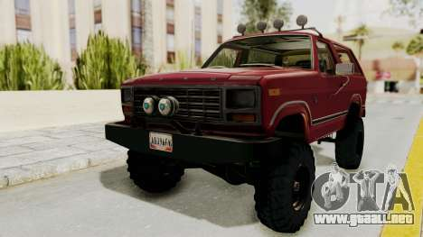 Ford Bronco 1985 Lifted para la visión correcta GTA San Andreas