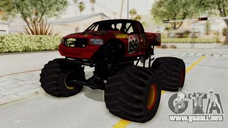 Pastrana 199 Monster Truck para GTA San Andreas vista posterior izquierda