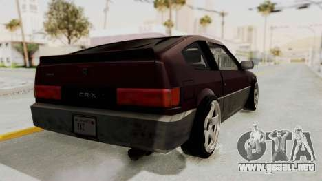 Blista CRX para GTA San Andreas vista posterior izquierda