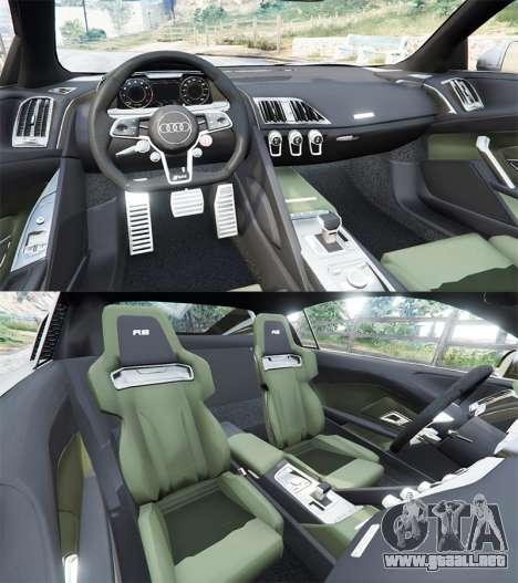 GTA 5 Audi R8 V10 Plus 2015 vista lateral trasera derecha