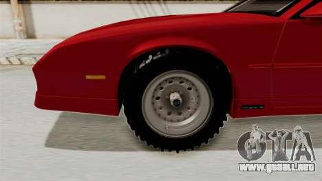 Chevrolet Camaro 1990 IROC-Z Rusty Rebel para GTA San Andreas vista hacia atrás