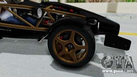 Ariel Atom 500 V8 para GTA San Andreas vista hacia atrás