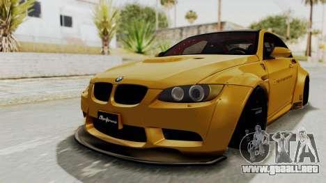 BMW M3 E92 Liberty Walk para GTA San Andreas vista posterior izquierda