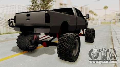 Ford F-350 Super Duty Monster Truck para GTA San Andreas vista posterior izquierda