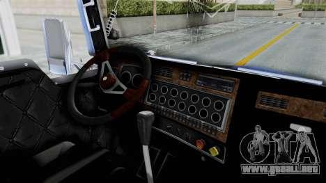 Kenworth T800 para GTA San Andreas vista hacia atrás