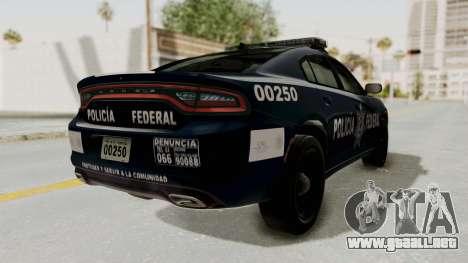 Dodge Charger RT 2016 Federal Police para GTA San Andreas vista posterior izquierda