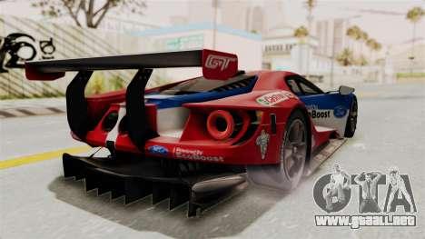 Ford GT 2016 LM para GTA San Andreas vista posterior izquierda