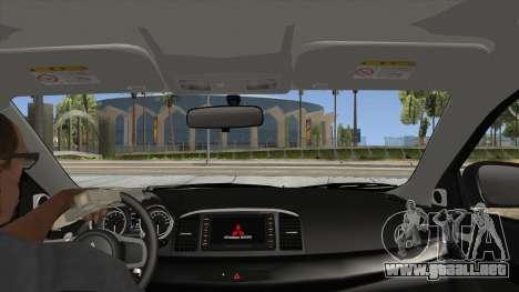 Mitsubishi Lancer Evolution X PDRM para visión interna GTA San Andreas