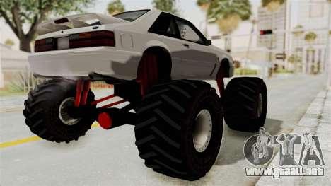Ford Mustang 1991 Monster Truck para GTA San Andreas vista posterior izquierda