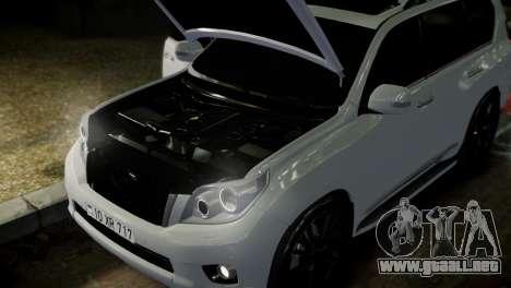Toyota Land Crusier Prado 150 para GTA 4 vista desde abajo