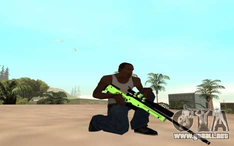 Green chrome weapon pack para GTA San Andreas segunda pantalla