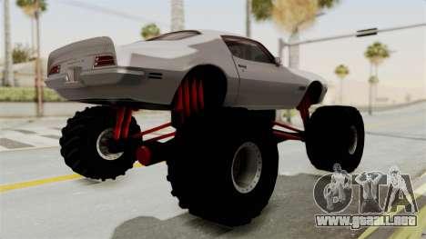 Pontiac Firebird 1970 Monster Truck para la visión correcta GTA San Andreas