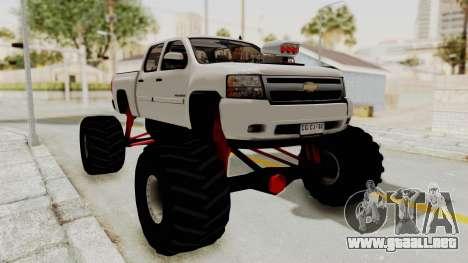 Chevrolet Silverado 2011 Monster Truck para GTA San Andreas vista posterior izquierda