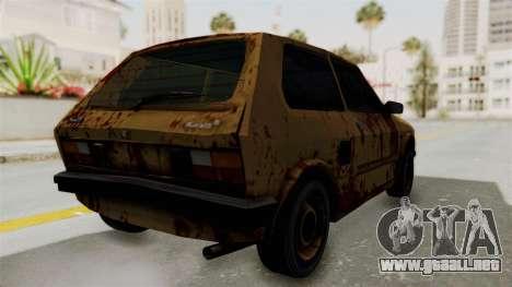 Zastava Yugo Koral 55 Rusty para GTA San Andreas vista posterior izquierda