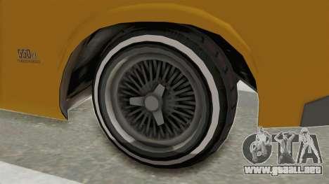GTA 5 Declasse Sabre GT2 A IVF para GTA San Andreas vista hacia atrás