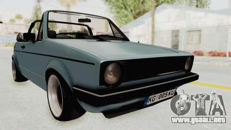 Volkswagen Golf 1 Cabrio VR6 para la visión correcta GTA San Andreas