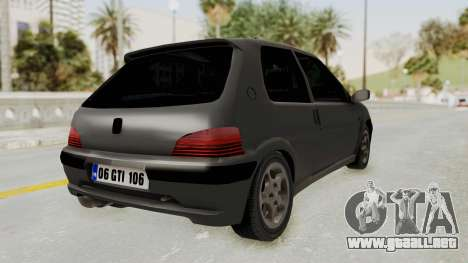 Peugeot 106 GTI Stock para GTA San Andreas left