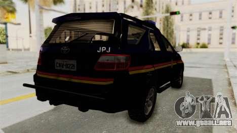 Toyota Fortuner JPJ Dark Blue para GTA San Andreas vista posterior izquierda
