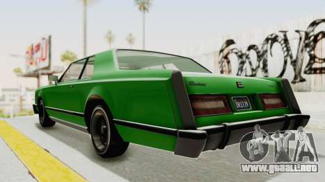 GTA 5 Dundreary Virgo Classic Custom v1 para GTA San Andreas vista posterior izquierda