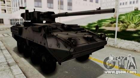 M1128 Mobile Gun System para GTA San Andreas vista posterior izquierda