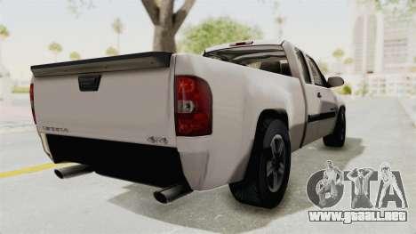 GMC Sierra 2010 para GTA San Andreas vista posterior izquierda