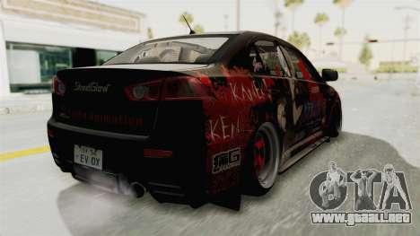 Mitsubishi Lancer Evolution X Ken Kaneki Itasha para GTA San Andreas vista posterior izquierda