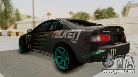 Toyota Celica GT Drift Monster Energy Falken para GTA San Andreas vista posterior izquierda